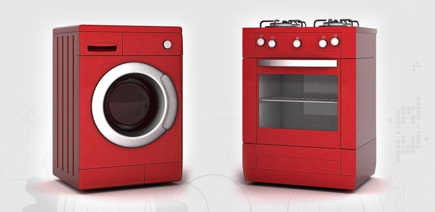 red washing machine